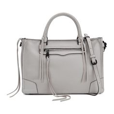 Rebecca Minkoff Women's Regan Satchel Bag - Putty ($420) ❤ liked on Polyvore featuring bags, handbags, tote bags, leather satchel, genuine leather tote, white tote bag, leather tote bags and woven leather tote