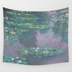 Water Lilies Monet 1905 Wall Hanging Tapestry by Purevintagelove - Small: x Wall Tapestries, Tapestry Wall Hanging, Wall Hangings, Society 6 Tapestry, Clothespins, Water Lilies, Rod Pocket, Tablecloths, Outdoor Walls