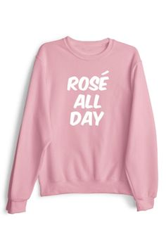 Trendy ROSE ALL DAY Print Round Neck Long Sleeve Pullover Sweatshirt
