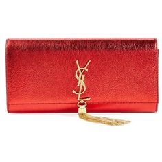 Women's Saint Laurent 'Cassandre' Tassel Leather Clutch ($1,620) ❤ liked on Polyvore featuring bags, handbags, clutches, metallic clutches, red purse, leather purses, metallic leather purse and metallic leather handbags