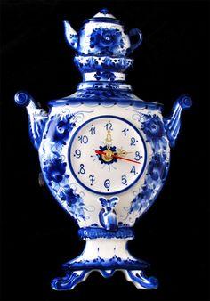 Часы Самовар гжель 36см