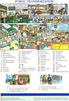 91 - PUBLIC TRANSPORTATION - Pictures dictionary - English Study explanations free exercises speaking listening grammar lessons reading writing vocabulary dictionary and teaching materials English Fun, English Book, English Study, English Words, English Lessons, English Grammar, Learn English, English Language Learning, Teaching English