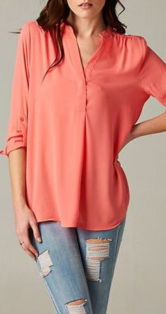 Danny Shirt in Blush - I would pair a long simple chain necklace with a teal pendant! What do you think?