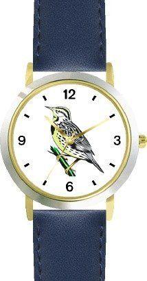 Western Meadowlark Bird Animal - WATCHBUDDY® DELUXE TWO-TONE THEME WATCH - Arabic Numbers - Blue Leather Strap-Size-Children's Size-Small ( Boy's Size & Girl's Size ) WatchBuddy. $49.95