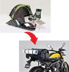 キャンプツーリングに必要なものを1つのバッグに!機能&積載性が抜群のシートバッグがラインナップ  バイクブロス・マガジンズ Diy Camping, Camping Survival, Tent Camping, Camping Gear, Outdoor Camping, Motorcycle Tent, Nomadic Furniture, Bike Saddle Bags, Rough Riders