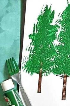 Fork Painted Tree - Kid Craft Idea