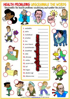 Health Problems, Illnesses, Ailments Esl Printable Unscramble the Words Worksheet For Kids
