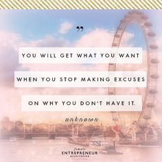 Excuses hold you back! Make an action plan for how to get what you want. No excuses allowed! No More Excuses, Stop Making Excuses, Get What You Want, How To Get, How To Plan, Excuses Quotes, Female Entrepreneur Association, Perfection Quotes, Inspirational Quotes