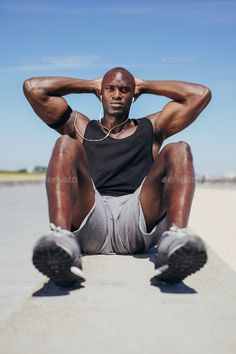 by jacoblund. Image of fit young man doing sit-ups looking at camera. One Song Workouts, Short Workouts, Beach Workouts, Outdoor Workouts, Male Fitness Photography, Fitness Photoshoot, To Infinity And Beyond, Bodybuilding Motivation, Mens Fitness