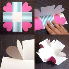 valentines day sorprise How to create a surprise box from . - valentines day sorprise How to create a surprise box from simple template material t - Birthday Explosion Box, Birthday Box, Birthday Gifts, Diy Gift Box, Diy Gifts, Exploding Gift Box, Diy And Crafts, Paper Crafts, Surprise Box