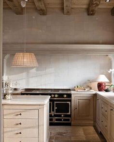 "The kitchen of a stately country house designed by Belgian architect Stéphane Boens. Stove ""Le Châtelet model from… Kitchen Cabinets Decor, Kitchen Cabinet Design, Painting Kitchen Cabinets, Cabinet Decor, Interior Design Kitchen, Cabinet Colors, Oak Cabinets, Kitchen Paint, Cabinet Ideas"