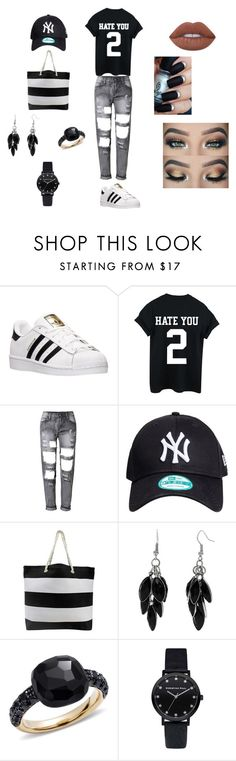 """Blanco y Negro"" by kenza-ctz ❤ liked on Polyvore featuring adidas, Alexa Starr, Pomellato and Lime Crime"