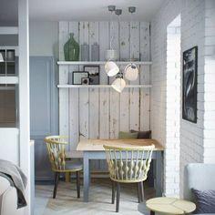 Voici un appartement du à la designer Jenya Likasova, qui est pleine de bonnes idées à piquer : la cuisine semi ouverte derrière sa cloison vitrée en hauteur, et le dressing fait de panneaux ajour…