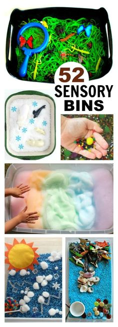 Sensory Bins for Kids - - Sensory bins are a great way for kids to play and explore. They are easy to put together, and there are endless possibilities for the types of bins th…. Sensory Tubs, Sensory Boxes, Baby Sensory, Diy Sensory Toys, Sensory Activities For Toddlers, Sensory Play Autism, Toddler Sensory Bins, Sensory Art, Indoor Activities