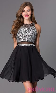 Image of short fit and flare sheer waist and back jewel embellished bodice dress Front Image