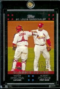 2007 Topps #329 Albert Pujols & Yadier Molina St. Louis Cardinals Baseball Card - Mint Condition - Shipped in Protective Display Case! by Topps. $2.44. Look for Your Favorite Player or Team. One of Many Single Baseball Cards. Buy More & Save on Shipping!. Great Card in a Protective Display Case. 2007 Topps #329 Albert Pujols & Yadier Molina St. Louis Cardinals Baseball Card - Mint Condition - Shipped in Protective Display Case!
