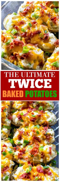The Ultimate Twice Baked Potatoes - you can go wrong with this side dish. Twice Baked Potates are creamy with sour cream and topped with bacon, cheese, green onions. #potatoes #BBQ #potluck the-girl-who-ate-everything.com