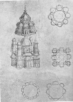 [more Chaos Star buildings? Leonardo, Da Vinci Art, Da Vinci Drawings, Artist Inspiration, Leonardo Da Vinci, Sketch Book, Architectural Sketch, Art, Renaissance Artists