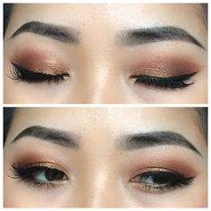 Makeup for Asian eyes. Soft copper eyes