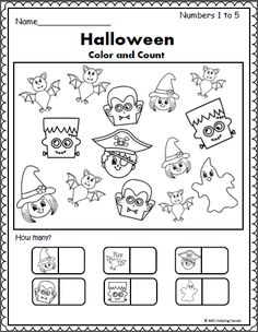 Free Math Worksheet for Halloween (Counting 1-5) Practice numbers from 1 to 5. Color the Halloween pictures, then count and write how many of each picture.