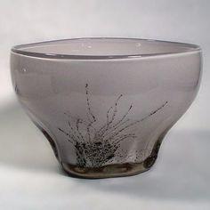 Benny Motzfeldt, own studio, Norway Unique handblown glass bowl, pink glass internally decorated with aventurine,