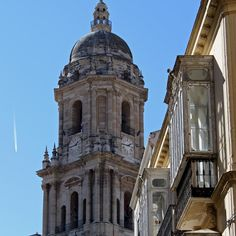 Malaga's cathedral and façades Andalucía Spain.