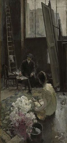 In the Artist's Studio, Private Collection Constantin Alexeevich Korovin (Russian, 1861 - 1939)