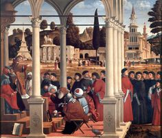 Disputa di Santo Stefano tra i Dottori nel Sinedrio // 1514 // Vittore Carpaccio  #SaintStephen #SanEsteban