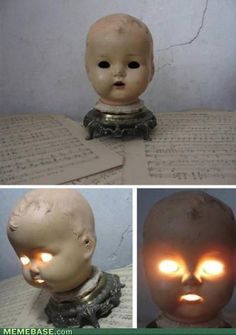 Creepy doll head lamp