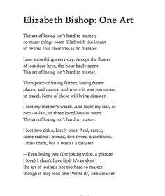 Elizabeth Bishop - One Art