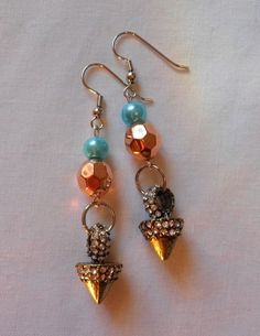 Earrings Handmade Drop Dangle Copper Aqua Pearl Beads Rhinestone Cone Charm 3'' #Handmade #DropDangle