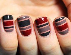 Cool Nail Art For Long Nails - Cute Simple Nail Designs Fancy Nails, Diy Nails, Cute Nails, Pretty Nails, Crazy Nails, Nail Art Stripes, Striped Nails, Red Stripes, Striped Nail Designs
