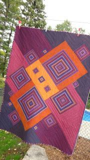 """- I absolutely love the diagonal nature of, and colors in, this quilt! Steph -- """"Falling for Stripes"""" quilt by Quilt Matters. Patchwork Quilt, Striped Quilt, Scrappy Quilts, Drunkards Path Quilt, Modern Quilting Designs, Modern Quilt Patterns, Log Cabin Quilts, Art Textile, Contemporary Quilts"""