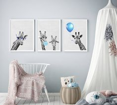 Excited to share the latest addition to my #etsy shop: Set of 3, Giraffe Nursery Decor, Kids boy Prints, Giraffes Wall Art, Chewing gum poster, Baby Gift, blue Print, glasses, balloon poster