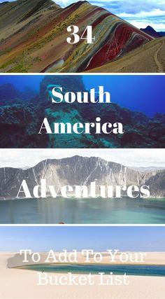34 South America adventures to add to your bucket list. South America is a diverse content with so many different things to offer a traveler. We hope we have inspired you to consider a journey outside your comfort zone and give you some ideas to bring out the adventurer in you as well. Click to read 34 Amazing South America Adventure Experiences http://www.divergenttravelers.com/south-america-adventure-experiences/