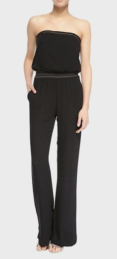 Cusp  Ella Moss - Strapless Woven Trimmed Jumpsuit, Black