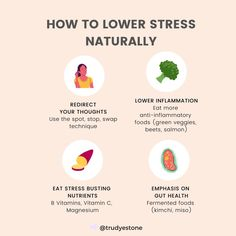 FEELING STRESSED? YOURE NOT ALONE... One of the beliefs I see many women hold is Im a wife or Im a mother and being stressed and overwhelmed is just the way that its supposed to be. They feel that theyre at the mercy of stress - stress feels crippling and like they cant get control over their life. If that sounds like you then use these 4 methods to lower stress naturally. These 4 steps are actually part of my 4 step R.I.S.E method to help women overcome stress overwhelm and fatigue. TELL ME… How To Lower Stress, Green Veggies, Anti Inflammatory Recipes, Feeling Stressed, Fermented Foods, Gut Health, Just The Way, Vitamin C, Feels