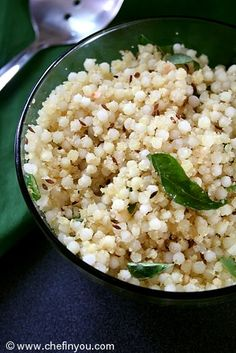 Sabudana Kichidi : The chewy Sago coated with nutty peanut powder, the slight sweet- spicy combo from the sugar and chillies, a light tanginess from the lemon and abundant of freshness from the herbs makes for a satisfying meal.