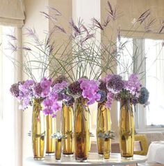 Table arrangement at the The Espelette restaurant in The Hotel Connaught Hotel Flower Arrangements, Types Of Flower Arrangement, Vase Arrangements, Tall Wedding Centerpieces, Flower Centerpieces, Centrepieces, Silk Flowers, Purple Flowers, Decoration Buffet