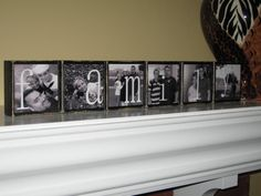 Family Name Sign Photo Blocks Crafts To Make, Home Crafts, Fun Crafts, Block Craft, Crafts With Pictures, Family Name Signs, Photo Blocks, Crafty Craft, Crafting