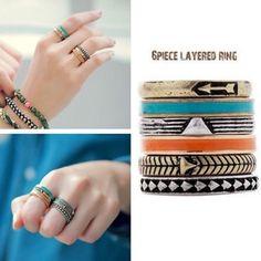 Cute boho style layering 6 ring set Size 6 Fashion jewelry! Super cute! Jewelry Rings