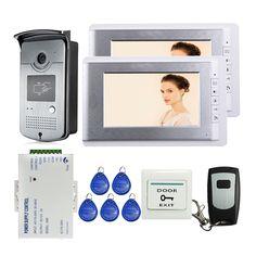 ブランドの新しい有線7インチビデオドア電話インターホンシステム2モニター+ rfidカメラ+リモコンで株式送料無料