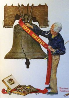 """HAPPY BIRTHDAY AMERICA!!! Limited Edition Print """"Celebration 1976"""" by Norman Rockwell"""
