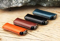 HIP/ clay brown genuine cow Leather Lighter Case by SakatanLeather