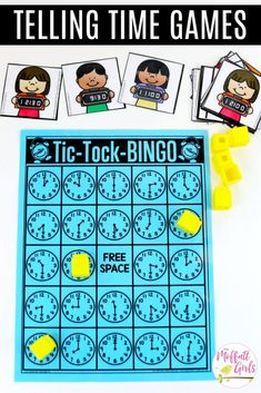 Math Games for first grade to teach how to tell time to the half hour! Grade students learn how to read digital and analog clocks in fun, hands-on ways! - Learning to Tell Time Math Bingo, Fun Math Games, Math Activities, Math Math, Math Worksheets, Kindergarten Math, Teaching Clock, Teaching Time, Telling Time Games