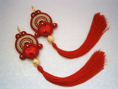 Red Swarovski Soutache Earrings with Tassels