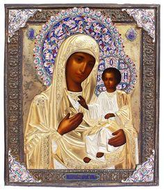 Gottesmutter Iverskaya Byzantine Art, Byzantine Icons, Russian Icons, Russian Art, Religious Icons, Religious Art, Sgraffito, Catholic Altar, Greek Icons