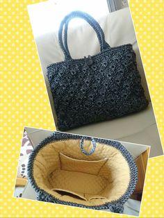 ビニール紐で大きめバッグを編みました👜 材料費、100円なり🎵
