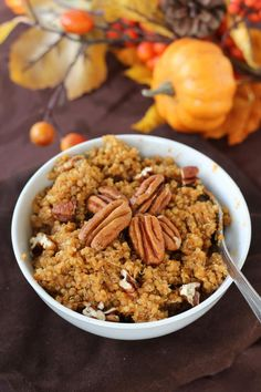 Pumpkin Spice Breakfast Quinoa,  Gah-RACIOUS!  Quinoa and pumpkin....for breakfast.  YUP.  Gonna try!  Probably will cut down on that maple syrup so the calorie count isn't as crazy.  Mmm, mmm!