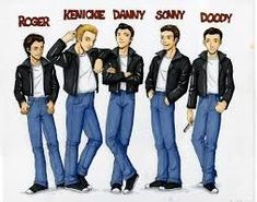 These are the male cartoons of the grease guys here's a personality line up Roger - Was dead ann Grease Outfits, Grease Costumes, Sonny Grease, Grease 1978, Grease 2016, Grease Musical, Grease Movie, T Birds Grease, Grease Party